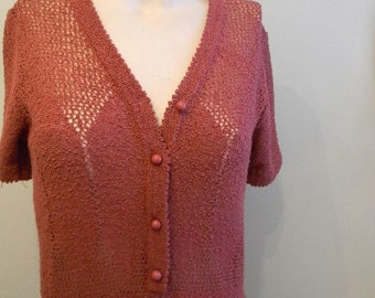 vintage. 70s Blush Pink Knit Dress / S to M