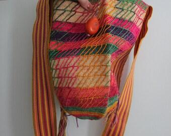 Woven Ethnic Shoulder Bag  •  Colorful Woven Bag  •  Carry All Vegan Bag  •  Vintage Striped Long Strap Bag  •  Unique rare bag