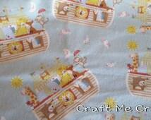 Noah's Ark - Flannel Fitted Sheet- Crib / Toddler Bedding- Blue / Multi