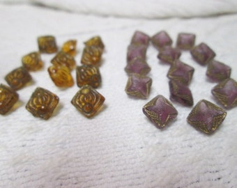 Lovely Glass Buttons a Set of 12 Amber...a Set of 14 Amethyst with shank back sew throughs