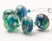 Rainforest Sparkle Swirl - 5 Handmade Lampwork Glass Beads by Sarah Downton