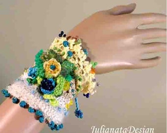 Sale - ENCHANTING SIGNATURE CUFF - Exquisitely Beaded, Hand Embroidered, Freeform Crocheted