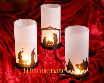 3 piece Nativity Set - Christmas present - Nativity Candle