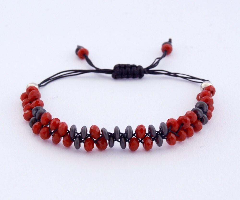 Red Hematite Beads Beaded Plaited ...