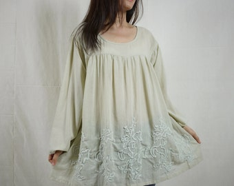 Blossom - Plus Size Bohemian Long Sleeve Azo Free Color Beige Light Cotton Blouse With Hand-Embroidered Detail
