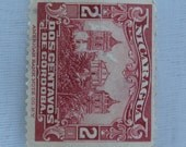 1920s Nicaragua 2 Centavos de Cordoba Stamp, Red with Leon Cathedral