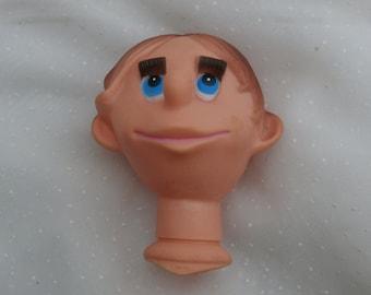 Comical Man or Boy Doll Head, Vintage Doll Craft Supply