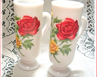 Two Demitasse Rose Cups Cottage Decor