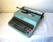 Sky Blue Olivetti Lettera 32 Typewriter with Cursive Script Font - Lucy - Professionally Serviced
