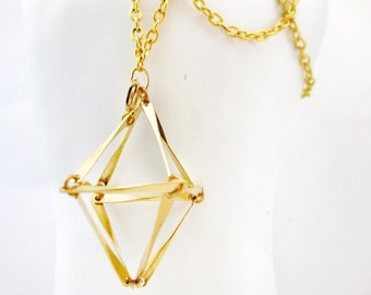 Gold Geometric Diamond Cage Necklace Abstract Prism Triangle Bar Pendant Bead Cage Trinket Holder Stones Sea Glass Handmade Jewelry Canada