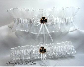 IRISH SHAMROCK Wedding garters white sheer Garter set