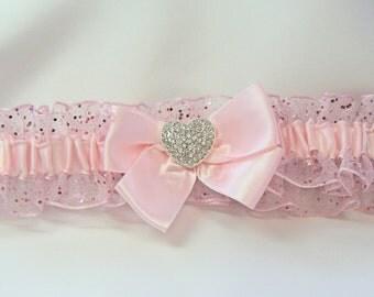 Prom Garter Pink Sparkle  Wedding garter toss Garters