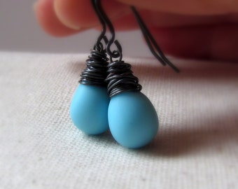 Robin Egg Blue Glass Earrings, Light Blue Earrings, Powder Blue, Sky Blue, Turquoise Blue, Oxidized Sterling Silver, Czech Glass