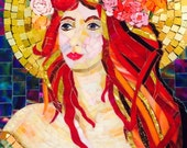 Valentina Autumn Moon Goddess -  Mosaic portrait, redhead, mythical, gold glowing moon