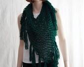 Crochet Scarf Cowl, Crochet Triangle Scarf, Bulky Crochet  Boho Scarf, Fishnet Scarf, Triangle Fringe Shawl, Long Fringe Shawl