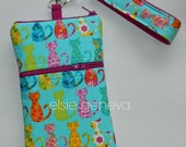 Ready to Ship Calico Cats Phone Case with Belt Clip or Wristlet Zipper iPhone 5 6 Plus Smartphone