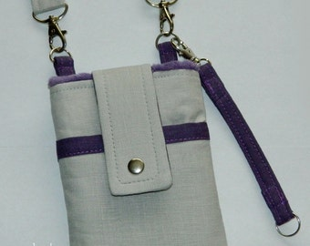 Solid Light Grey Charcoal Purple Japanese Linen Phone Case Shoulder Strap Back Zipper Pocket Natural Sand Pumpkin iPhone 4 5 6 Plus Note