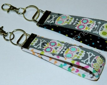 Grey Skulls & Hearts Key Fob Wristlet Chain Black Aqua Pink