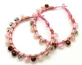 Rose Pink Brown Wire Wrap Beaded Hoop,Unique Gift Ideas for Mom Sister Girlfriend Wife, Urban Hip Hop Jewelry