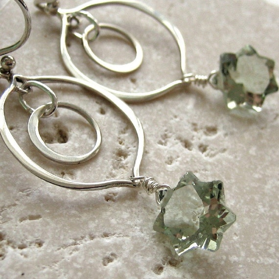 Long Prasiolite Earrings Sterling Silver Green Amethyst Concave Star Beads