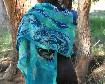 Blue Silk Scarf - Nuno Felted Stole - Ocean - Silk Wrap - Special Occasion