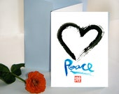 Enso Heart Circle card, Zen Words Calligraphy Peace - sympathy, Valentines, wedding, greeting card, inspirational, thank you, free shipping