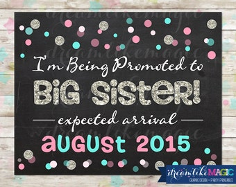 Big Sister to Be, Pregnancy Announcement, Big Sister Promotion, Pink and Blue Confetti, Silver Glitter Sign, Printable DIY Photo Prop, Sis