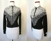 "Fabulous 1950's Designer Cashmere Sweater with 3 Dimensional Sequin Design by ""Queen Scott"" Rockabilly VLV Sweater Girl Pinup Size-Small"