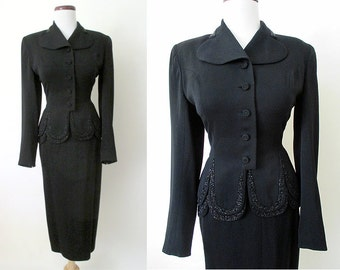 """Fabulous 1940's Beaded Black Designer Cocktail Suit Old Hollywood Glamour by """"Adler's Polly Parker Original"""" Starlet Pinup VLV Size-Small"""