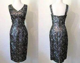 Chic 1950's Lilli Diamond Designer Black Cocktail Party Dress with Matching Jacket Rockabilly VLV Wiggle Dress Pinup Vixen Size-Medium