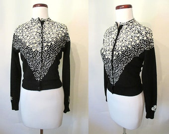 """Fabulous 1950's Designer Cashmere Sweater with 3 Dimensional Sequin Design by """"Queen Scott"""" Rockabilly VLV Sweater Girl Pinup Size-Small"""