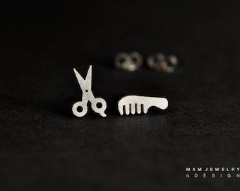 Sterling Silver Scissor & Comb Stud Earrings