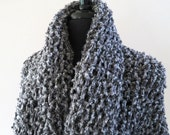 Outlander Inspired Claire's Cape Wrap Gray Color Knitted Chunky Boucle Shawl Long Stole with Tassels