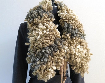 FREE US SHIPPING - Beige Gray Taupe Ivory Cream Melange Color Acrylic Wool Knitted Statement Capelet Collar Cowl with Ties