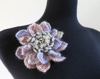 Pastel Lilac Pale Pink Light Silver Gray Color Crochet Statement Flower Brooch Hat Hair Shawl Scarf Pin