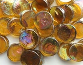 "25 3/4"" Honey Gold Penny Round Iridescent Glass Mosaic Tiles//Mosaic Supplies//Crafts"
