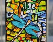 Stained Glass Mosaic, Dragonfly fused,, Stained Glass Mosaic SunCatcher or wall Decoration