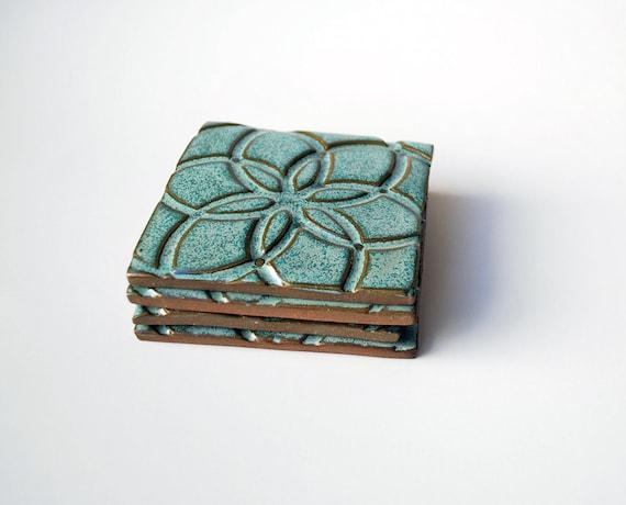 Aqua Pottery Coasters, Handmade (Set of 4, Ceramic), Drink Coasters, Makes a great housewarming or birthday gift