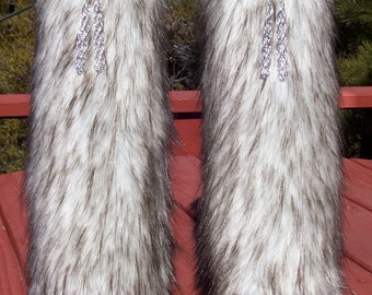Luxurious Fox Faux Fur Leg Muffs with Silver