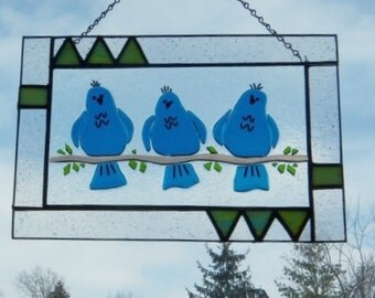 BLue Birds of Happiness Stained GLass Panel