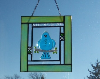 BLue Bird of Happiness Stained GLass Panel Small One of a Kind