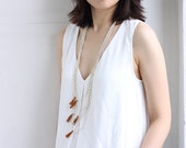 Rust Brown Tassel Layered Silver Long Drop Necklace