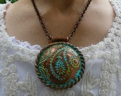Perfectly Paisley distressed polymer clay pendant