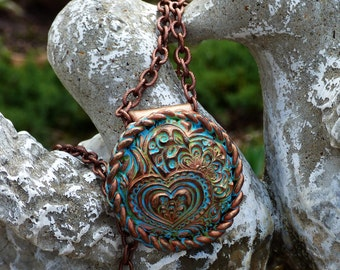 Hearts Zentangle distressed polymer clay pendant