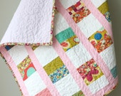 Modern Baby Quilt, Toddler Quilt, Crib Quilt, Baby Girl Quilt, Floral Coin Stacked Quilt
