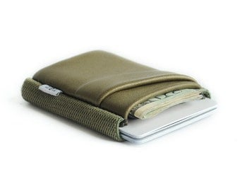 Slim minimalist elastic and leather wallet / cardholder designed by TGT (Tight)