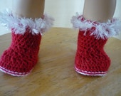 18 inch Doll Crocheted Red Booties with Fur Top