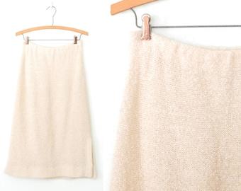 70s Knit Skirt * Vintage 1970s Sweater Skirt * Cream Boucle Knit Skirt * Small