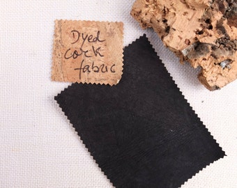 "Black cork leather fabric, vegetable leather, Portuguese cork, dyed leather textile, cork skin, buy cork, korkstoff, kork, 20""x20"", 50x50cm"