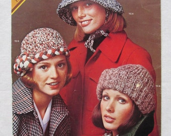 Vintage 1970s Hat Instructions, Knit Crochet Columbia Minerva Town & Country, Cloche Turban, Lumberjack Hat